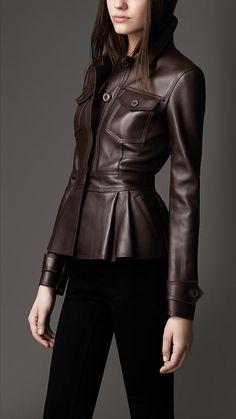 Peplum Waist Leather Jacket - minus the pockets Burberry Leather Jacket, Best Leather Jackets, Peplum Leather Jacket, Pu Jacket, Leder Outfits, Look Fashion, Womens Fashion, Leather Fashion, Pretty Outfits