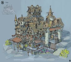 I used Korean characters as an layout inspiration for medieval buildings. Also did some spaceships inspired by the shapes of the characters.  Done traditionally with ink, and marker. For the buildings I scanned the linework and colored in PS.
