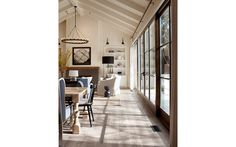 I love the vaulted ceiling, the layout, the white ceiling with the wooden sliding doors. Love, love, love
