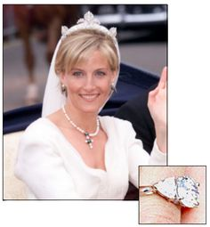 SOPHIE RHYS JONES received this beautiful 2 carat oval cut diamond with heart shaped side stones from Garrards when she married Prince Edward (the youngest son of Queen Elizabeth II) in 1999.