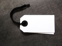 White Tags with Black Reinforced Holes, Black String Included,  Use for Weddings, Showers, Birthdays, Party Favors, Gifts, Set of 20 - pinned by pin4etsy.com