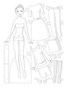Paper dolls by Julie Allen Matthews. Paper Doll School features free printable paper dolls and tips about making paper dolls. Coloring Sheets For Kids, Colouring Pages, Paper Toys, Paper Crafts, Paper Doll Chain, Paper Doll Template, Paper Fashion, Colorful Party, To Color