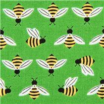 green bee animal fabric by Robert Kaufman from the USA - Animal Fabric - Fabric