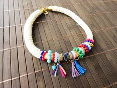 Boho necklace colorful boho jewelry hippie jewelry by Handemadeit, $32.00