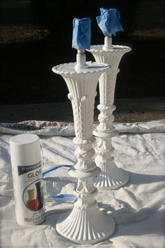 Spray painting glass lamps, though I personally would never cut dangling crystals off a lamp - it hurts my heart!!      HouseTalkN: Painting Glass Lamps...Jonathon Adler Style!