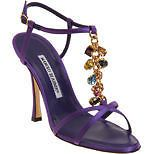 $1395! New MANOLO BLAHNIK KIOKO PURPLE Evening JEWELED SHOES SANDALS 37 7 6.5 #MANOLOBLAHNIK #Sandals