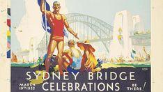 Items similar to Sydney Bridge Celebrations March 1932 Vintage Travel Poster - Poster Print, Sticker or Canvas Print / Gift Idea / Christmas Gift on Etsy Type Posters, Art Deco Posters, Poster Prints, Posters Australia, Australian Vintage, Advertising Poster, Vintage Travel Posters, Vintage Advertisements, Ads