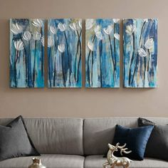 A contemporary color palette of blue hues makes this INK+IVY Ocean Breeze Blossom canvas wall art set stand out in any room. Easy Flower Painting, Flower Painting Canvas, Diy Canvas Art, Flower Canvas, Flower Paintings, 3 Piece Canvas Art, 3 Canvas Painting Ideas, 3 Canvas Paintings, Simple Acrylic Paintings