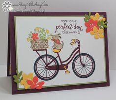 I used the new Bike Ride stamp set from the Stampin' Up! 2017-18 Annual Catalog to create my card to share today. My card design was inspired by Sketch Saturday #463. I started by stamping th…