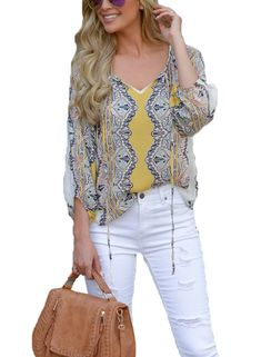 df9f870157f Azokoe 2018 Fall Womens Tunic Blouses V Neck Long Sleeve Printed Loose  Tshirt Casual Chiffon Tops Under 20 Plus Size L