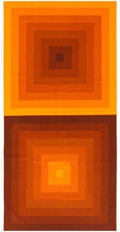 "Vintage Orange ""Quadrat"" Verner Panton Textile 47807"