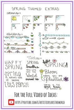 Spring bullet journal ideas Bullet Journal Icons, Bullet Journal Headers, Bullet Journal Month, Bullet Journals, Bullet Journal Frames, Doodle Frames, Doodle Art, Planner Doodles, Journal Prompts