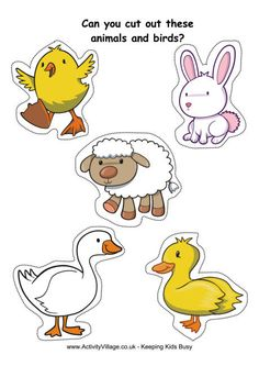 Cut Outs Practice : Cute Farm Animals