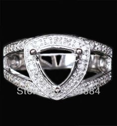 14K White Gold Pave Diamond 8mm Trillion Cut Halo Engagement Ring Settings 4.78g $485.00