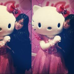 """""""Hello Kitty Her head is a big large but her voice is adorable #usj"""""""