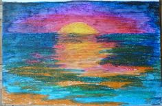 Sunset #1 by Darla Vaughan Original Oil Pastel Fine Art Painting Sunset Drawing Seascape Ocean Sunsets Ocean Inspirations Beachy tranquility by LoveStreetUSA on Etsy