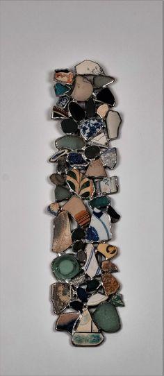 Beach Treasure Wall Hanging, Sea Glass, Beach Pebbles, Sea Pottery Art. by SaraLeGrisCreations on Etsy