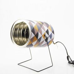Tin can spot - Retro handmade tin can lamp! Perfect for every corner of the house. Tin can spot in packagings lights with tin can Recycled Lamp DIY Recycled Lamp, Recycled Tin Cans, Lampe Retro, Retro Lamp, Tin Can Lights, Diy Dog Gate, Oak Furniture Land, Diy Cans, Handmade Lamps