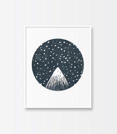 Printable Art Mountain Peak Starry Night by ThePrintableStudio