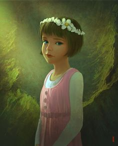abstract_background bob_cut brown_hair coronet dress flower_petals gradient gradient_background green_eyes long_sleeves peter_pan peter_pan_and_the_pirates pink_dress rhads short_hair undershirt wendy_darling