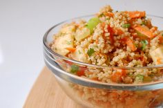 Spiced Apple-Walnut Couscous :: fluffy couscous with apple, carrot, green onions, ginger, cilantro, and walnuts