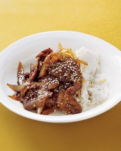 This Korean dish, featuring paper-thin slices of meat marinated in a salty-sweet sauce, is served over rice or wrapped in lettuce leaves.