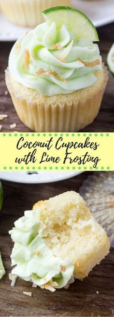 These coconut cupcakes with lime buttercream frosting have a triple dose of coconut and a soft, buttery texture. Then theyre topped with creamy, fluffy lime frosting toasted coconut. The perfect tropical cupcake recipe! Kokos Cupcakes, Coconut Cupcakes, Yummy Cupcakes, Coconut Lime Cupcakes, Mocha Cupcakes, Gourmet Cupcakes, Strawberry Cupcakes, Easter Cupcakes, Flower Cupcakes