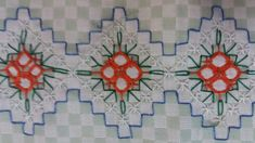 Bordado em tecido xadrez - Amostra de Bordado/Barradinho (Detalhes sobre o bordado... Visitar)