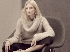 A soft coloured turtle neck with dark culotte trousers make for a comfortable weekend look. M&S AW15.