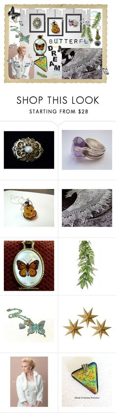 Butterfly DREAM by galina-780 on Polyvore featuring LumaBase, Nivea, vintage, etsy, SylCameoJewelsStore, keepsakedesignsbycmm and GalinaShawls