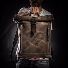 Rodillo superior mochila por de Kruk garaje cuero mochila