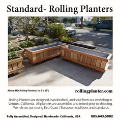 M26 standardard planter. Commercial quality construction. Elegant, looks nice in home or in public gardens. Locking and non marking wheels. Liner and plumbing for water conservation and mess reduction.  Made / Designed, Ventura CA USA RollingPlanter.com