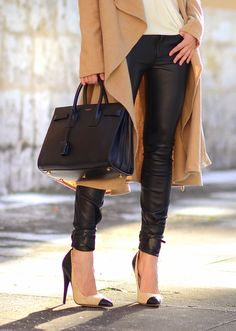 Saint Laurent Sac De Jour bag, Zara leather pants, Religion coat and Isabel  Marant 75c4e3a9006