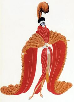 Erté - Illustrations - Costume - Zizi Jeanmaire - Ballet 'La Veuve Rusée'