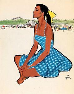 llustration by René Gruau (1909–2004), The Yellow Ribbon.