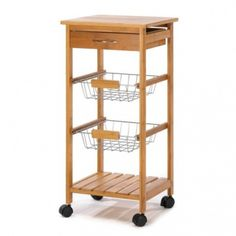 """10014710 OSAKA KITCHEN CART  Attractive rolling cart complements any gourmet kitchen! The perfect fusion of fashion and function, with a sleek tower silhouette containing a solid bamboo top, utensil drawer, two baskets and a bamboo shelf. WOOD 10 pounds 14.1"""" x 14.1"""" x 30"""""""