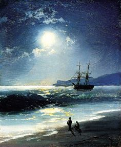 Sailing Ship on a Calm Sea by Moonlight, 1897