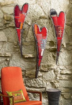 Swooping Hearts Wall Sculpture: Anthony Hansen: Metal Wall Art - Artful Home