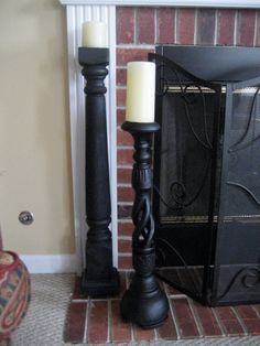 $12 Floor Candlesticks. . . . Buy newel posts (for the end of stairs) or bedposts from Home Depot, cut to size, place in fence post toppers (ones with a flat top) - making sure they are level, and then spray paint them.