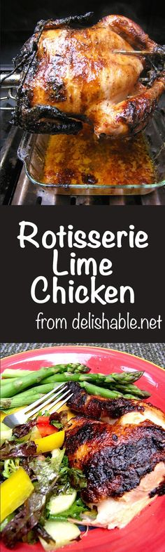 Got a rotisserie? Try this juicy, flavorful Rotisserie Lime Chicken recipe - you'll love it! Terrific for company or when it's too hot to cook indoors. | delishable.net