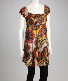 Take a look at this Yellow & Red Floral Shirred Peasant Dress by Aller Simplement on #zulily today!
