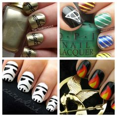 Im not too big on getting my nails painted, but any of these would be awesome. Lord of the Rings, Harry Potter, Star Wars, and The Hunger Games! :)