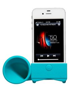 With this iPhone amp, he can blast tunes right over your voice. Speaker, $10; cwonder.com.