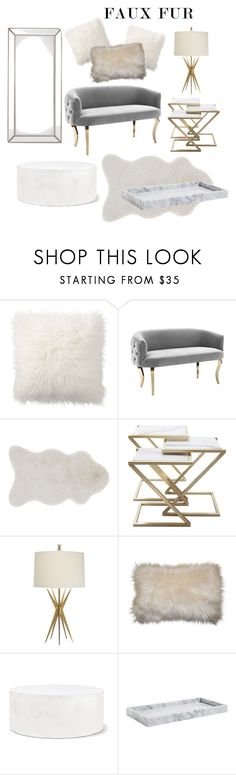 """Faux fur living space"" by rachelnero ❤ liked on Polyvore featuring interior, interiors, interior design, home, home decor, interior decorating, Pottery Barn, Loloi Rugs, The Natural Light and Seasonal Living"