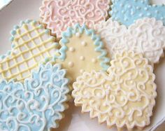 Sugar Cookie Heart Wedding Cookies Iced Decorated Cookie Favor Shabby Chic Pastel
