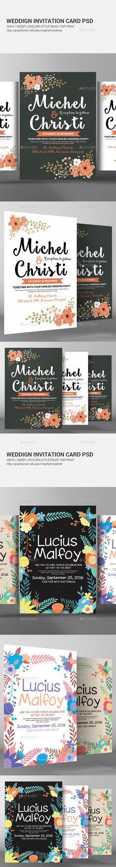 Wedding Invitation Card Design Bundle - Weddings Cards & Invite Template PSD. Download here: http://graphicriver.net/item/wedding-invitation-cards-bundle/16893222?s_rank=33&ref=yinkira