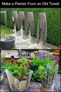 Garden planters, Concrete planters, Old towels, Garden, Unique gardens… Flower Planters, Garden Planters, Indoor Garden, Outdoor Gardens, Balcony Gardening, Indoor Planters, Garden Crafts, Garden Projects, Garden Art