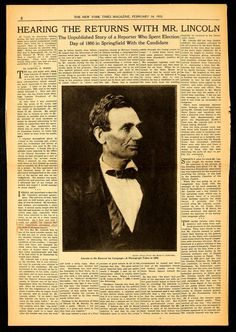 38 Best The 1860 Election Images Newspaper Article Political
