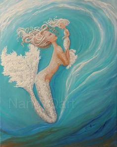 Cute turquoise mermaid art print, Mother & daughter mermaid art, The Little Mermaid wall art, Original painting by Nancy Quiaoit Mermaid Wall Art, Mermaid Room, Mermaid Pillow, Baby Mermaid, Tattoo Mutter, Tattoos Mandala, Mermaid Pictures, Mermaid Tattoos, Seahorse Tattoo