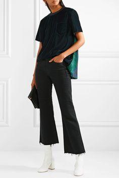 SACAI #Velvet and printed plissé-georgette #top €720